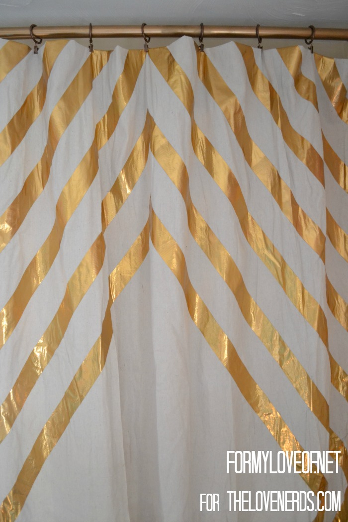 Close Up of Ripples of Single Panel Gold Duct Tape Accent YouTube Filimg Curtains ForMyLoveOf for TheLoveNerds