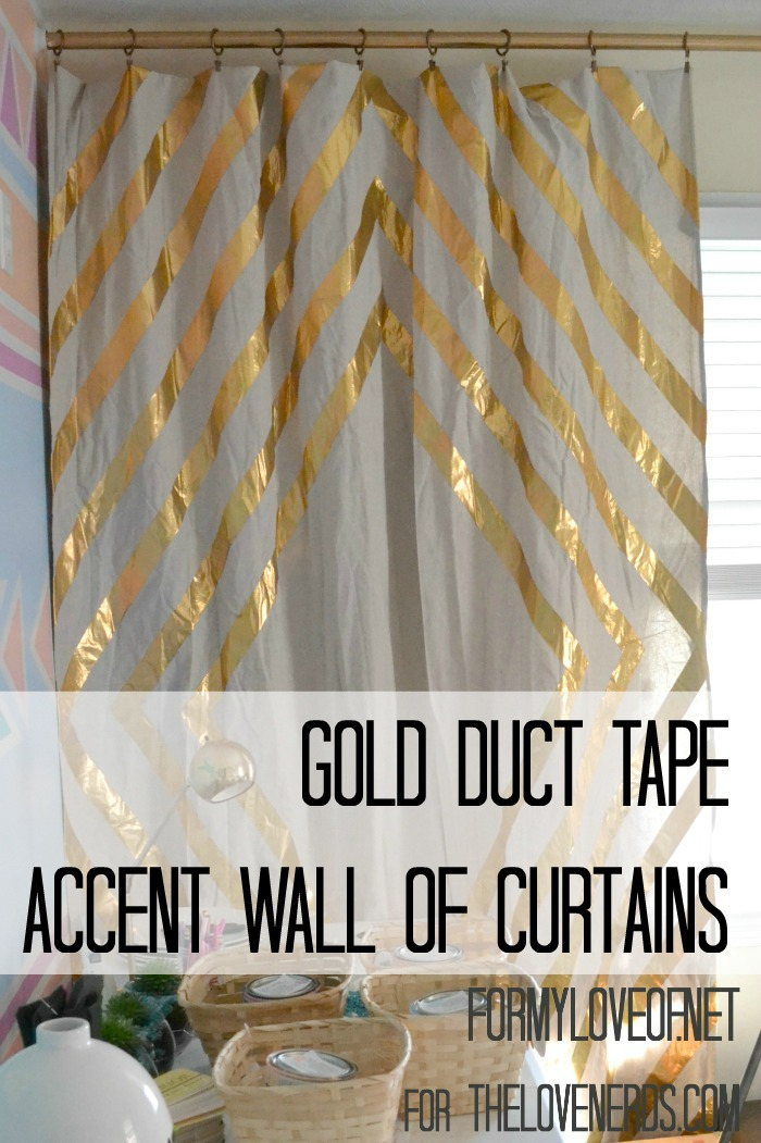First View of Single Panel Gold Duct Tape Accent YouTube Filimg Curtains ForMyLoveOf for TheLoveNerds