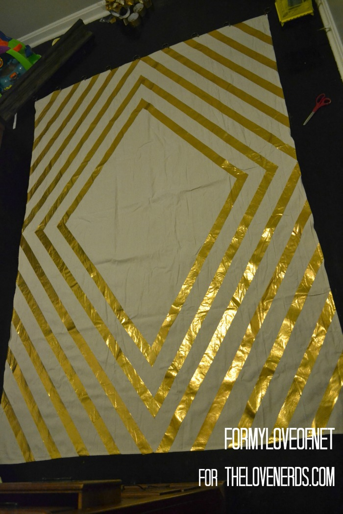 Fold Excess Gold Duct Tape of Edges of Drop Clothes ForMyLoveOf for TheLoveNerds