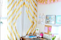 Learn how to make a gorgeous accent wall by making these Gold Duct Tape Curtains! {The Love Nerds} #curtains #ducttape #crafts #DIYproject