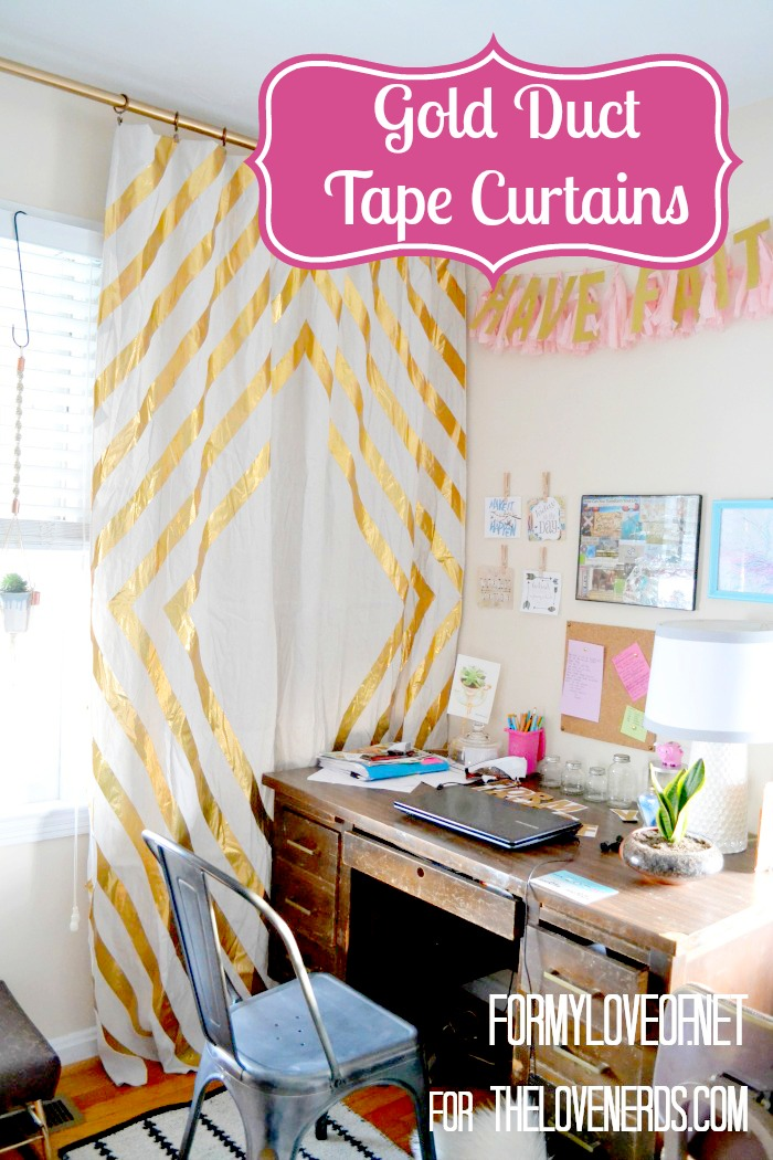 Gold Duct Tape Curtains for a Gorgeous Accent Wall The