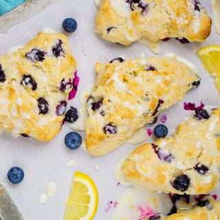 The BEST Glazed Lemon Blueberry Scones