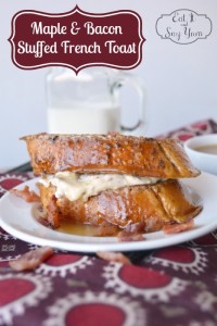 A delicious brunch idea: Cream Cheese Maple and Bacon Stuffed French Toast Recipe from Eat It and Say Yum {The Love Nerds} #breakfastrecipe #newrecipe #baconrecipe