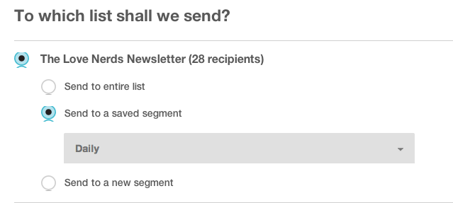Starting a MailChimp Blog Newsletter - Choosing List for Campaign