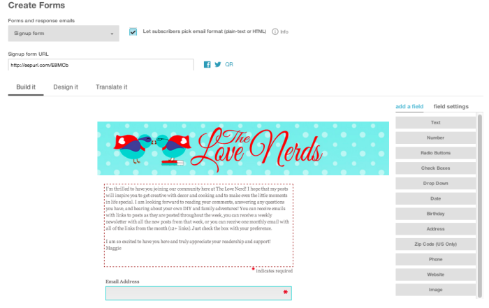 How to Start a MailChimp Blog Newsletter - Part 1: Creating Sign Up Form and Update Options {The Love Nerds} #blogtips #blogger #newsletter