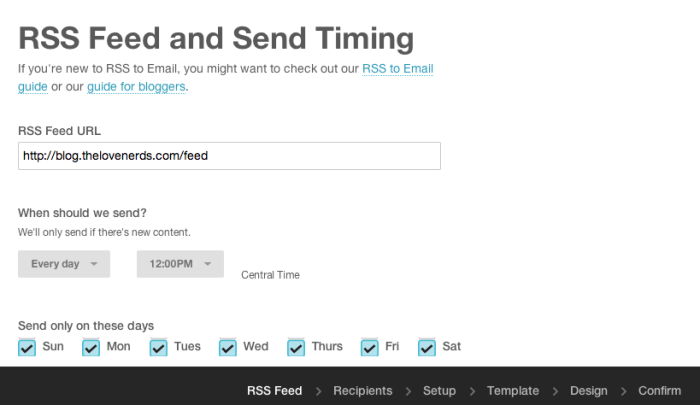 Starting a MailChimp Blog Newsletter - RSS Campaign