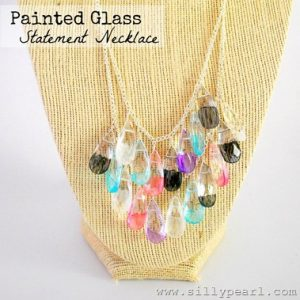 Painted Glass Teardrop Statement Necklace - The Silly Pearl_thumb