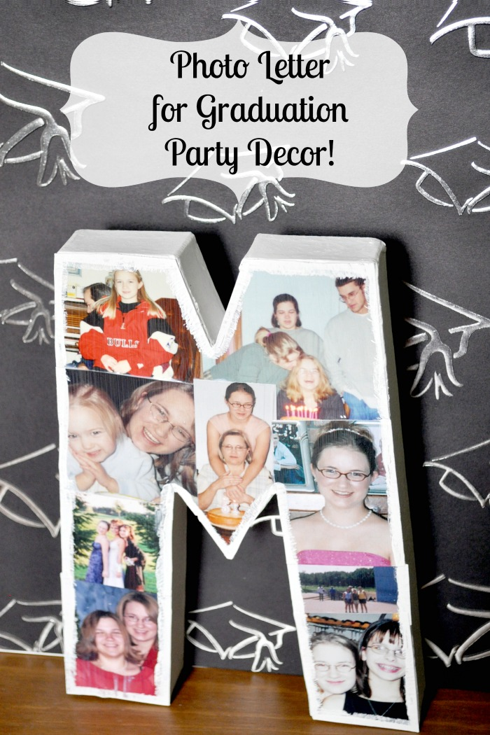 A Mod Podge DIY Photo Letter - Perfect for party decorations, like a graduation party, photo prop, or room decor for a teen! {The Love Nerds} #crafts #photoproject #partydecor