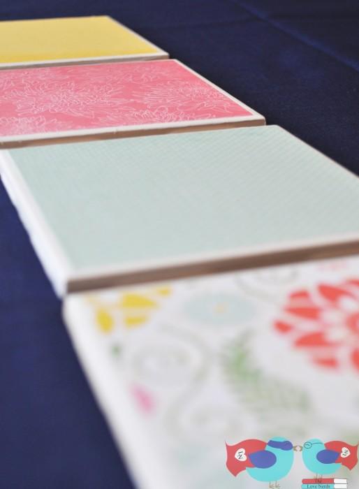 diy coasters with scrapbook paper
