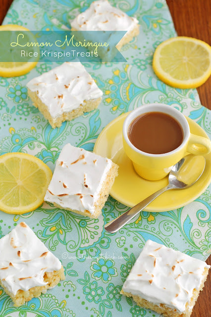 lemon meringue rice krispie treats