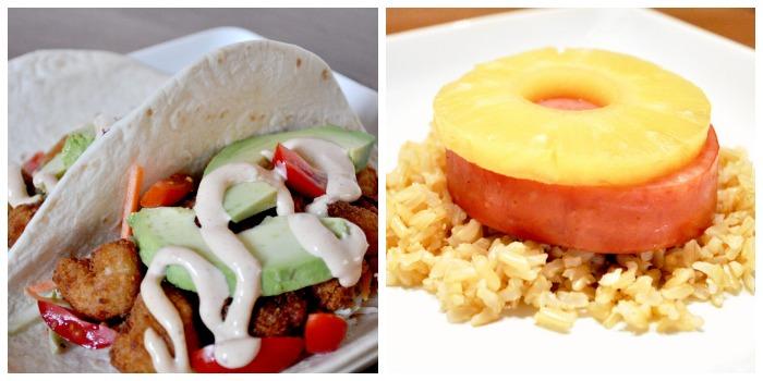 Cheater Meals at The Love Nerds - Crispy Shrimp Tacos and Hawaiian Ham