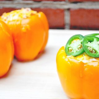 Jalapeno and Ranch Chicken Stuffed Peppers made with Kraft Classic Ranch! A fabulous dinner idea with a spicy kick. {The Love Nerds} #FoodDeservesDelicious #shop