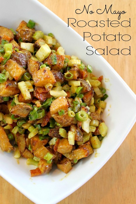 No Mayo Roasted Potato Salad with Bacon - The BEST potato salad for summer! {The Love Nerds}