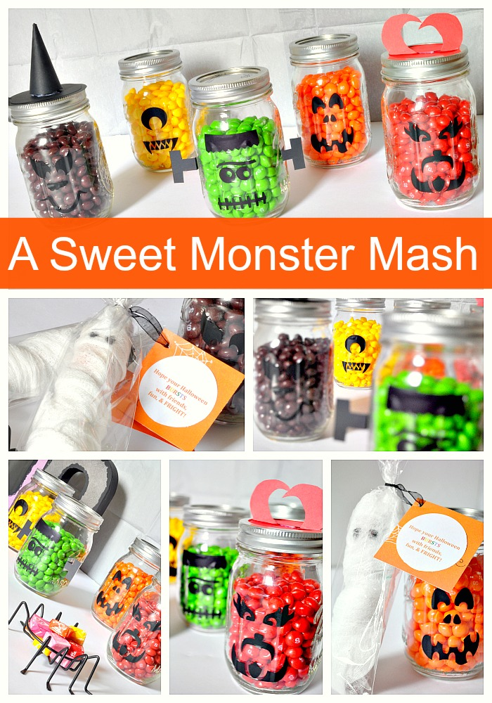 A Sweet Monster Mash - Colorful Halloween decor with a cute favor to send home from a party or to school for a teacher! {The Love Nerds} #SweetOrTreat #shop #halloween #halloweendecor