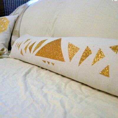 Glittery Geometric Triangle Lumbar Pillow DIY