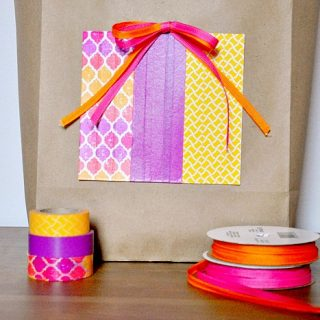 DIY Kraft Birthday Bag - Save some money by adding a splash of color to an inexpensive kraft bag! {The Love Nerds} #birthdaygift #giftwrapping #crafts