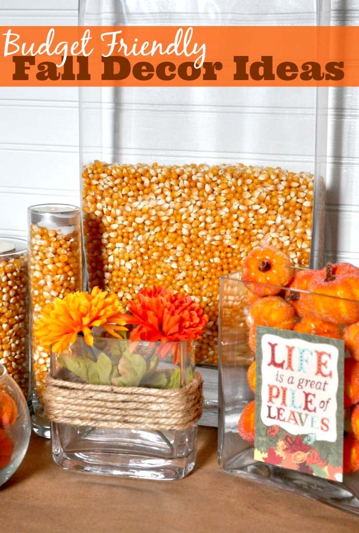 Create Budget Friendly Fall Decor with great vase filler! My favorite fall vase filler this year is corn kernels! Plus I'm featuring some of my faves from other bloggers, too! {The Love Nerds}