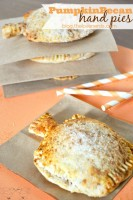 Delicious and adorable Pumpkin Pecan Hand Pies! These individual pies, shaped like a pumpkin no less, are easy to make and even easier to serve! Perfect holiday food or a party dessert. {The Love Nerds}