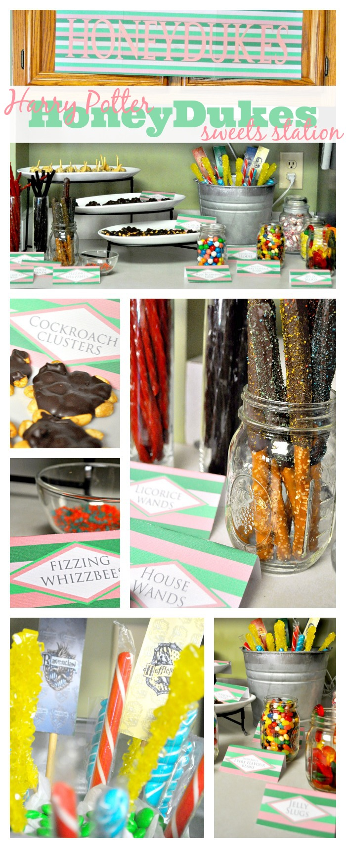 DIY Harry Potter Party - All details were created and implemented in 4 days, including this Honeydukes Sweets Station! This is fun AND doable! {The Love Nerds}