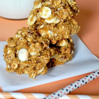 White Chocolate Pumpkin Pecan Oatmeal Cookies - Best Pumpkin Oatmeal Cookies and all made with very little butter! {The Love Nerds} #cookierecipe #recipe #pumpkinrecipe #dessert
