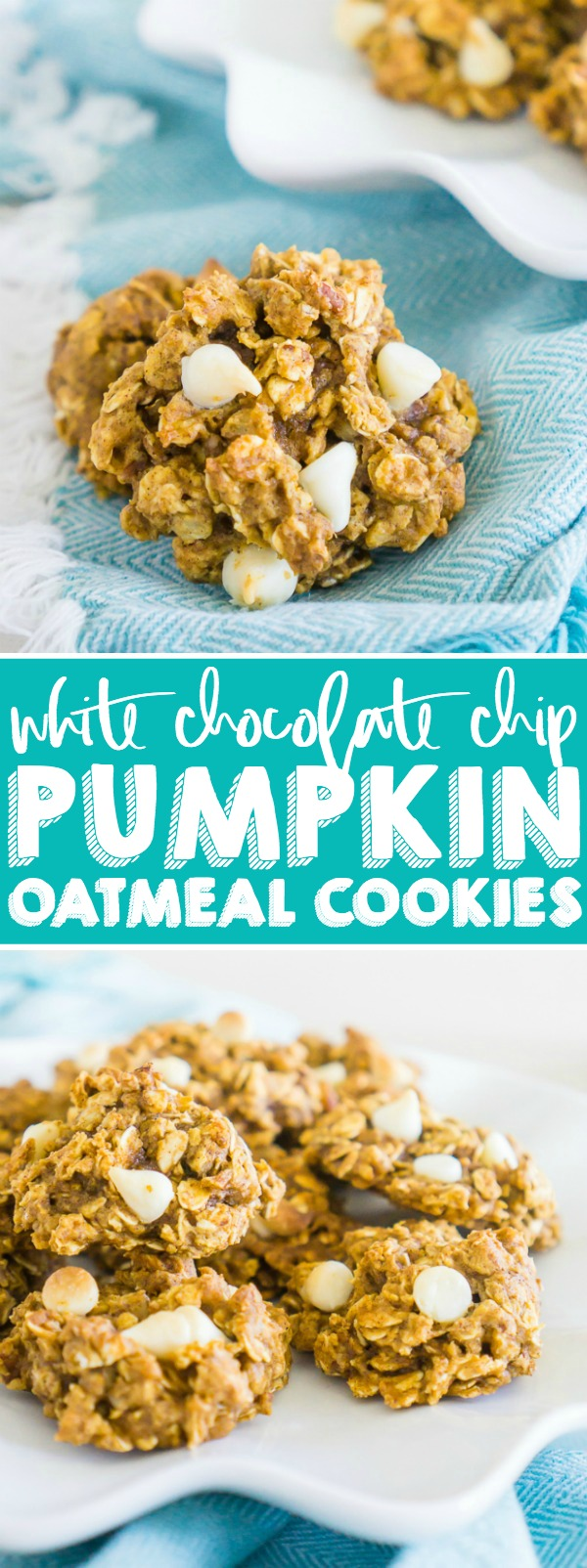 Combine the perfect fall flavors of pumpkin, oatmeal, nutmeg, and cinnamon into deliciousWhite Chocolate Chip Pumpkin Oatmeal Cookies that are so addicting you will want them with your coffee in the morning! It will be one of your new fall cookie favorites! | The Love Nerds #pumpkincookies #thanksgivingdessert