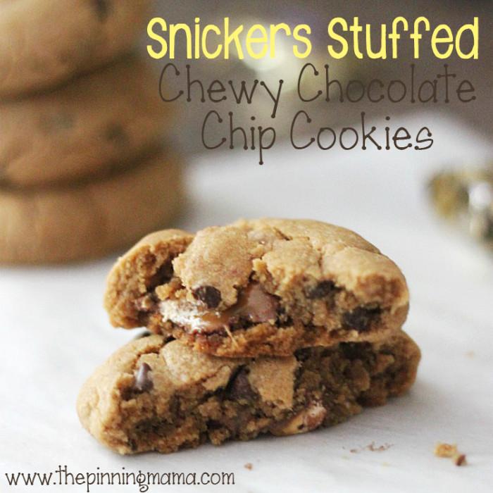 Snickers-Stuffed-Chewey-Chocolate-Chip-Cookies