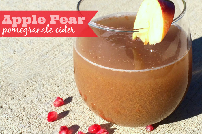 Apple Pear Pomegranate Cider - a delicious apple cider recipe that can easily be made into a yummy cocktail perfect for a fall party. {The Love Nerds}