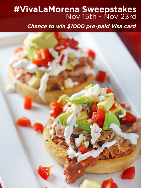 Spice up the holidays! Enter the #VivaLaMorena $1000 Sweepstakes for a chance to win $1000 pre-paid Visa card! Discover flavorful recipes, rules and enter here! #shop
