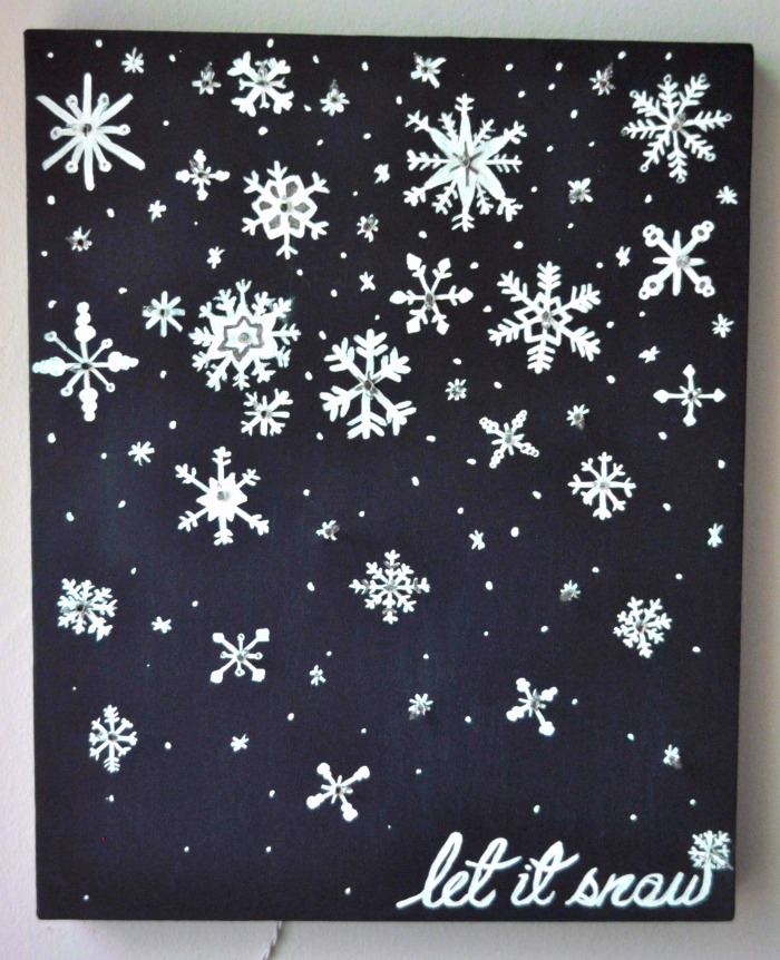 snowflake canvas painting