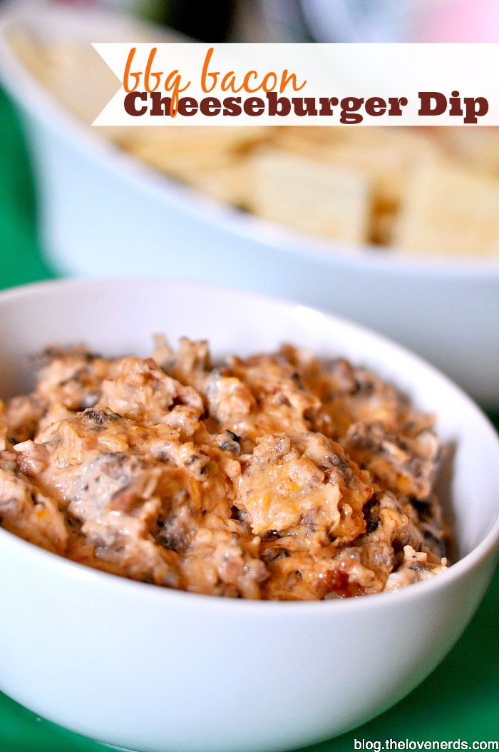 Who is excited for the Big Game? I don't know about the game, but I am REALLY excited about the commercials and yummy food, like this BBQ Bacon Cheeseburger Dip! {The Love Nerds} #BigGameSnacks #Ad @walmart