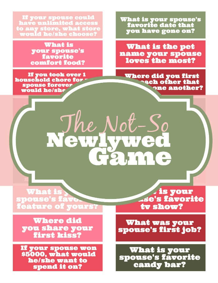 Newlywed dating game questions 1