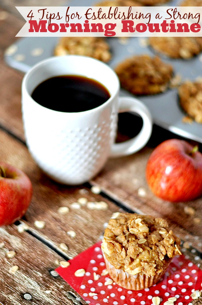 A morning routine can make even the worst days easier! See my 4 Tips for Establishing a Strong Morning Routine, including a recipe for an easy breakfast - Dutch Apple Pie Muffins! {The Love Nerds} #McCafeMyWay #Ad