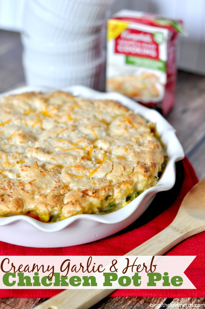 Easy Dinner Ideas the whole family will love with only 10 minutes of prep work, like this Creamy Garlic & Herb Chicken Pot Pie with a Cheddar Biscuit Crust! {The Love Nerds} #Ad #WeekNightHero