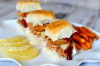 Crispy Onion BBQ Chicken Sliders - A fresh new recipe for spring! Prepare easy crock pot pulled chicken and add BBQ, Pineapple and Onion Rings for a whole lot of yum! {The Love Nerds} #SpringIntoFlavor #Ad