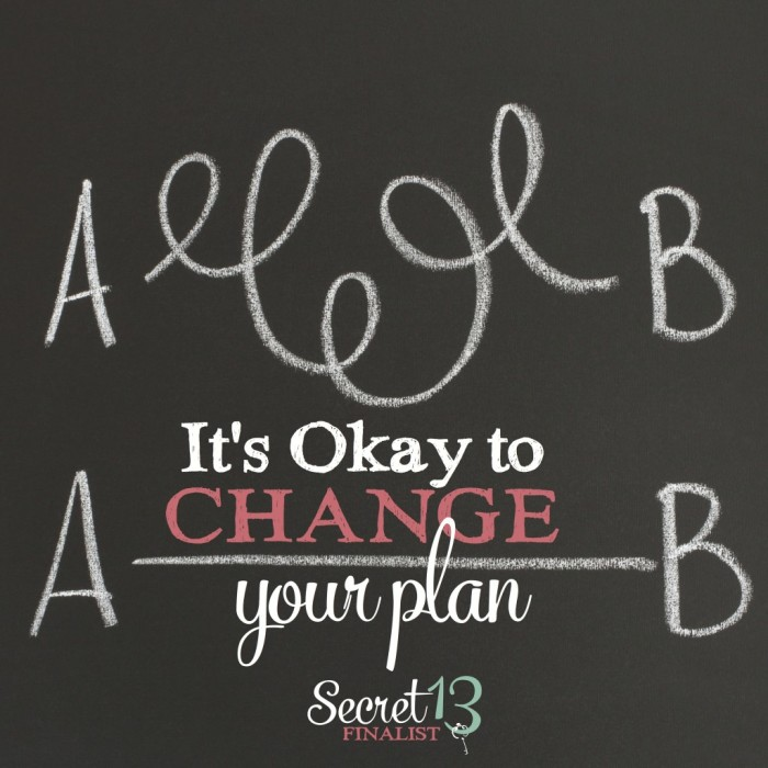 It's okay to change your plan in order to have the good life - Secret 13 Essay Contest Finalist {The Love Nerds}