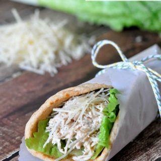 Easiest Crock Pot Chicken Caesar Pitas