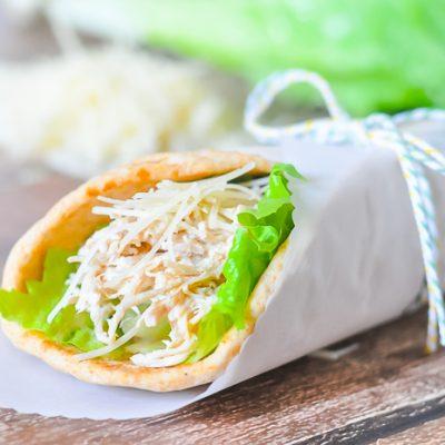 Easiest Slow Cooker Chicken Caesar Pitas