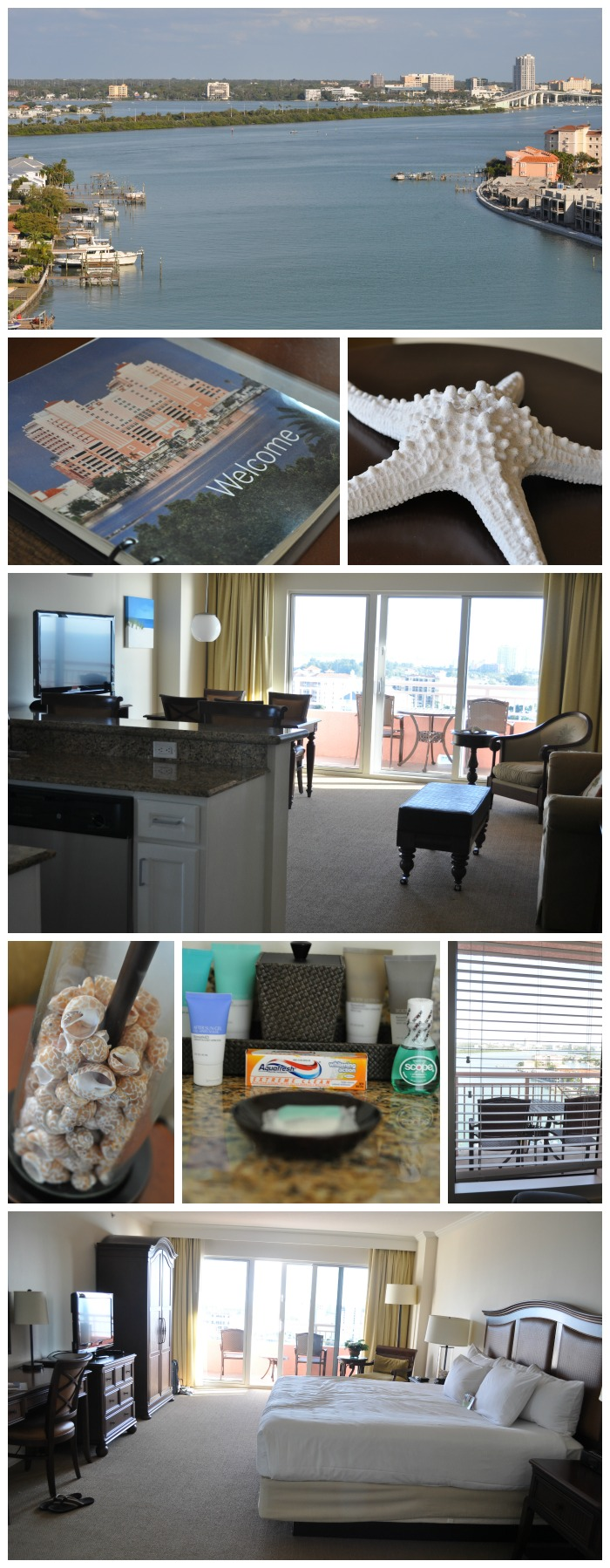 Pictures of the Hyatt Regency Clearwater Beach Resort and Spa, including the hotel room, bathroom amenities, and balcony view of the gulf