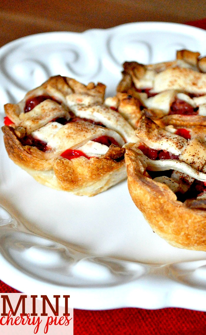 Mini Cherry Pies - the perfect combination of sweet and tart! This cherry pie recipe is easy to serve and clean up for parties! |The Love Nerds