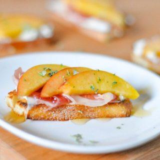 Peach Prosciutto Goat Cheese Crostinis
