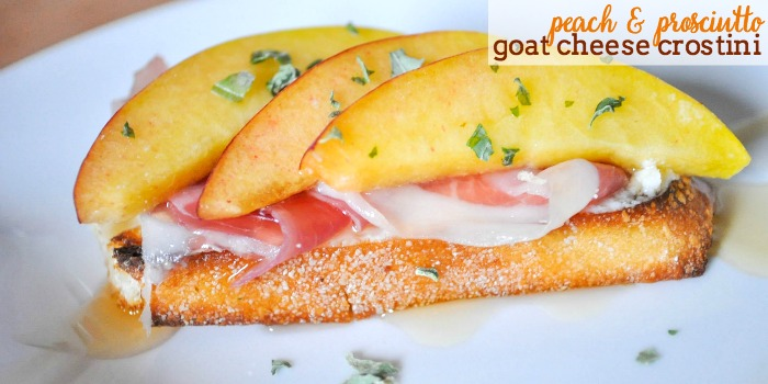 A gorgeous and easy appetizer idea! These Peach Prosciutto Goat Cheese Crostinis will impress everyone!  The Love Nerds