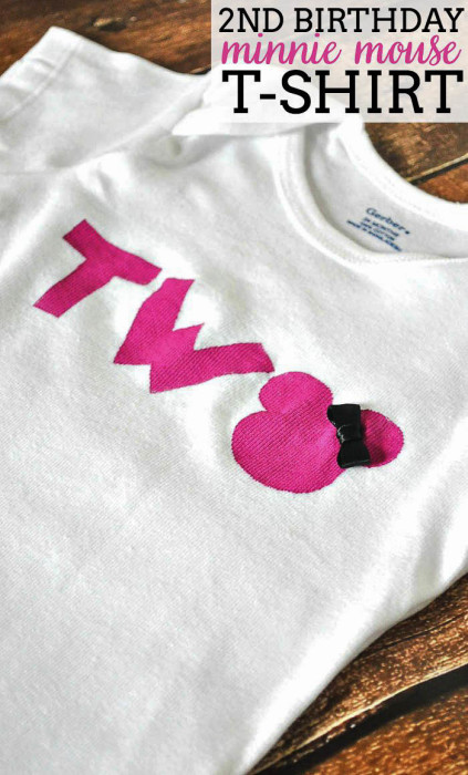 Do you have a little Mickey or Minnie fan in your house? Make this 2nd Birthday DIY Minnie Mouse Shirt as a gift ... or for ONE, FOUR, etc. | The Love Nerds