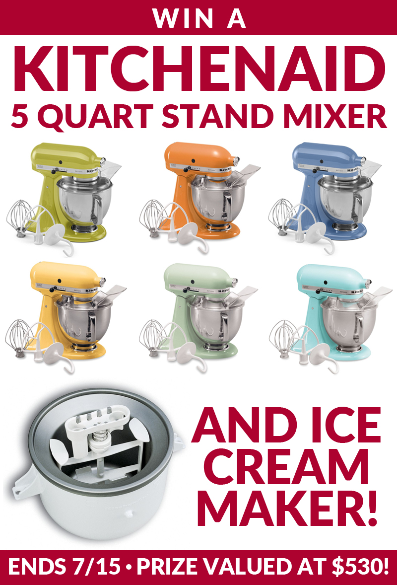 KitchenAid Stand Mixer Giveaway with Ice Cream Attachment