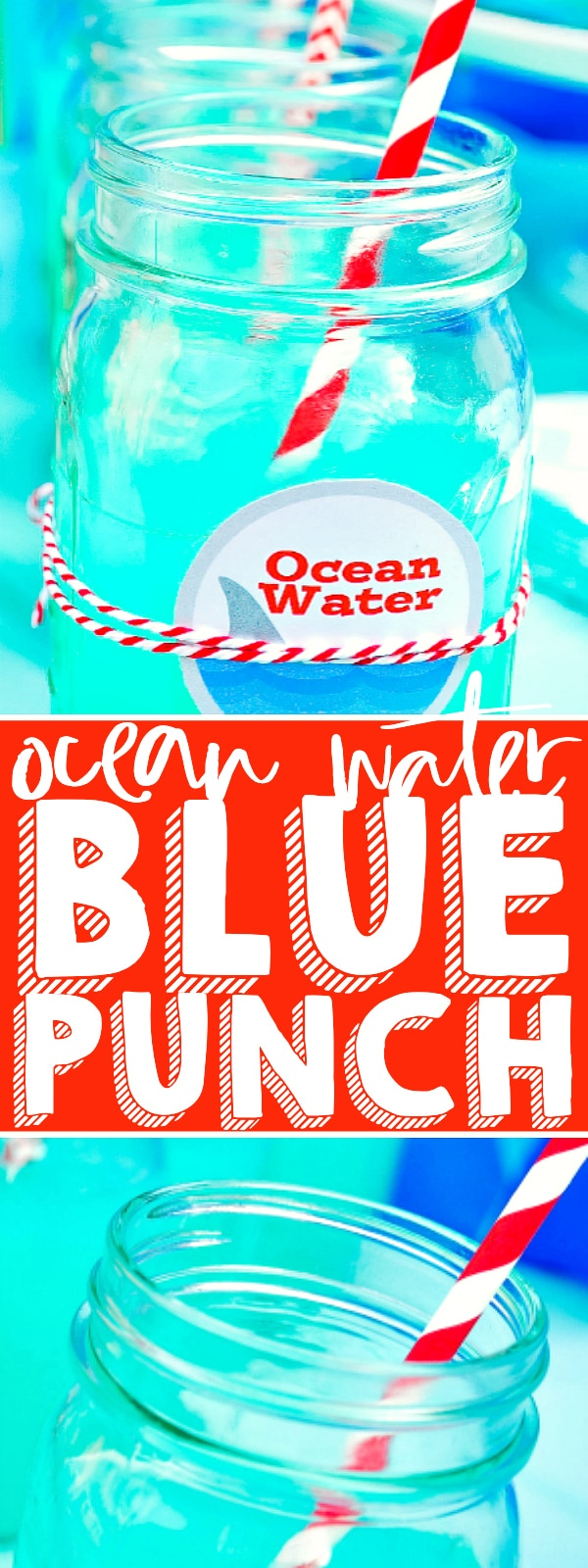 Throwing a fun summer event, Shark Party or just need a blue party punch? Quickly make this easy Ocean Water Blue Punch recipe and print the cute free label that comes with it! Comes with cocktail instructions! | The Love Nerds #koolaidpunch #mocktail #koolaidcocktail