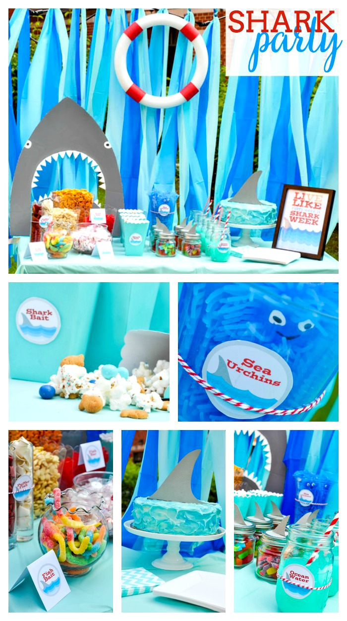 Shark party ideas the love nerds for Decoration ideas 7th birthday party