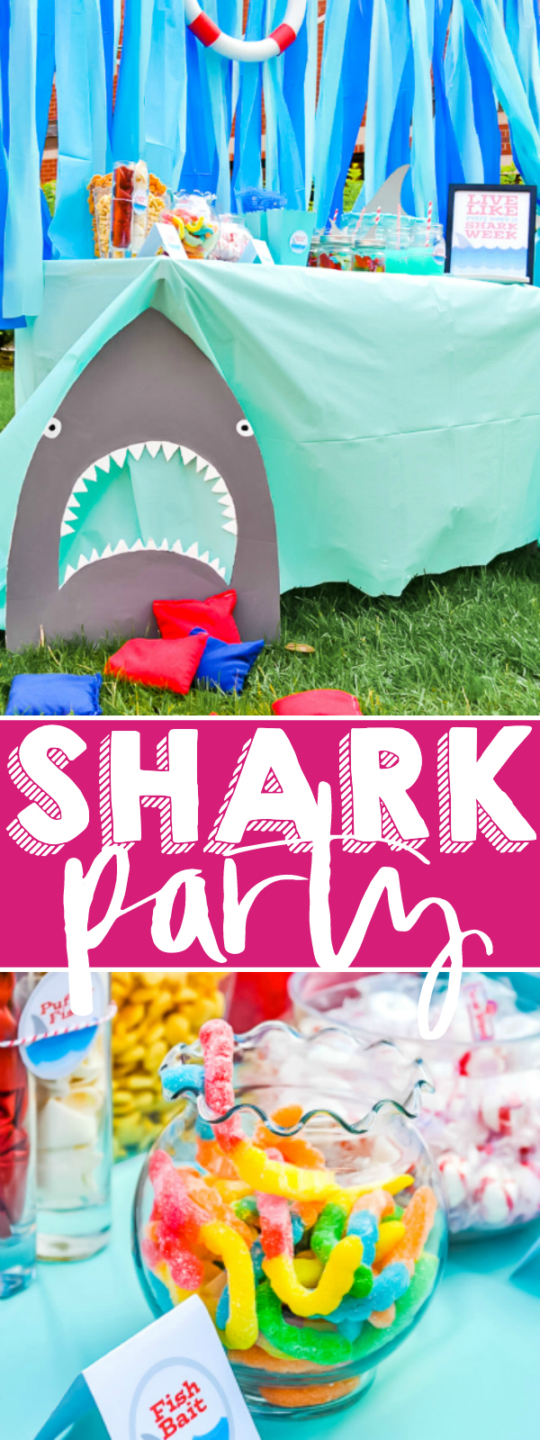 Live Every Week Like It's Shark Week - Throw a fun Shark Party with lots of ocean themed party details. It's the perfect summer birthday party theme or pool party idea! Plus download free printables! | The Love Nerds #summerparty