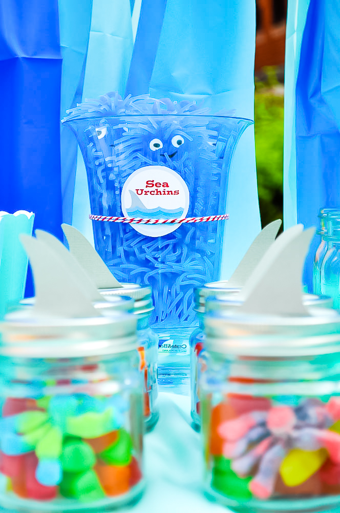 Blue soft plastic sea urchins sits in a plastic clear jar on the back with mini mason jars in rows at the front filled with candy gummies and topped with a paper shark fin.