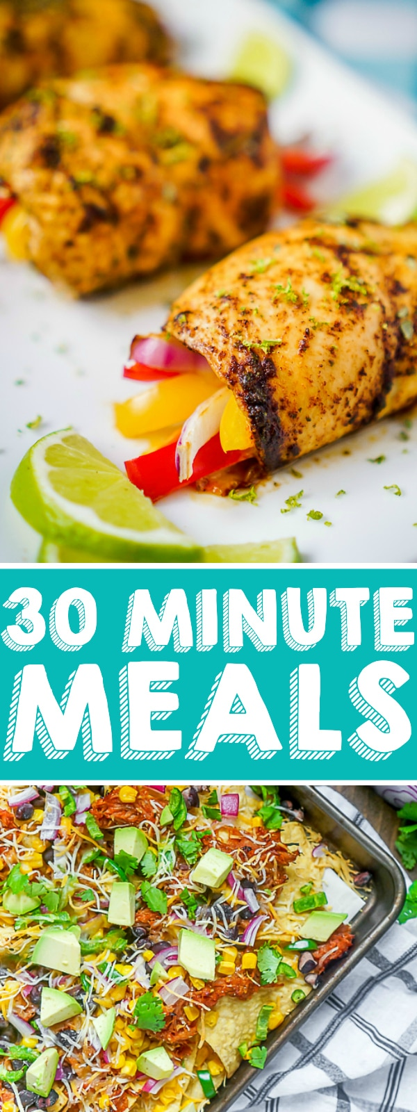 With busy schedules and kids running around, quick and easy dinner ideas are a must, so here is a list of 30 minutes meals or less! Perfect for back to school dinners and crazy work nights, there is something for everyone from pasta recipes and stir frys to shrimp, chicken and beef! | THE LOVE NERDS #easydinnerideas