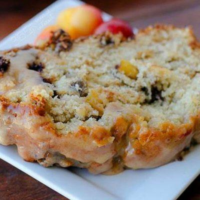 Cherry Banana Bread with Cherry Almond Glaze