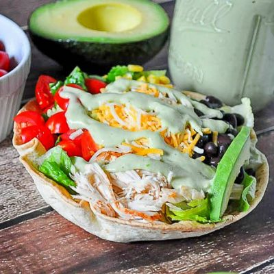 Chicken Taco Salad with Jalapeno Avocado Salad Dressing